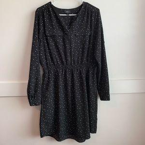 Mossimo Black Polka Dot Long Sleeve Dress